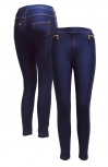 Damen Thermo Jeans Leggings, Jeggings mit Innenfleece, extra Warm in Jeansblau Größe M/L
