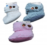 Kinder Teddy-Home Slipper,seitl.- Knopf-Applikation,innen mit weichem Teddyfutter