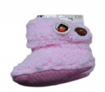 Kinder Teddy-Home Slipper,seitl.- Knopf-Applikation,innen mit weichem Teddyfutter in Rosé-23/24