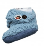 Kinder Teddy-Home Slipper,seitl.- Knopf-Applikation,innen mit weichem Teddyfutter in Grau-25/26